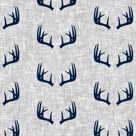 navy antlers on light grey linen (small scale) fabric by littlearrowdesign on Spoonflower - custom fabric