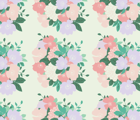 Bouquet in Cream // Vintage-inspired modern floral print for ...
