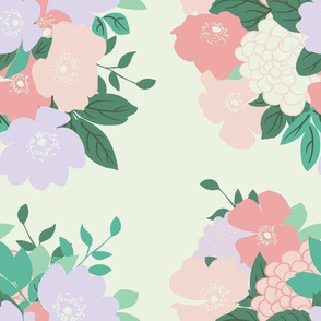 Bouquet in Cream // Vintage-inspired modern floral print for wallpaper or fabric - original repeat pattern by Zoe Charlotte