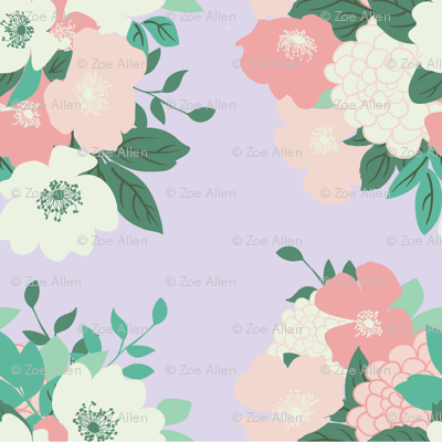 Bouquet in Lilac // Vintage-inspired modern floral print for wallpaper or fabric - original repeat pattern by Zoe Charlotte