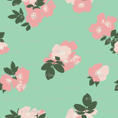 Wild Roses in Mint // Vintage-inspired modern floral print for wallpaper or fabric