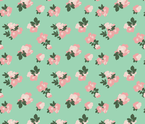 Wild roses in mint vintage inspired modern floral print for Fabric store charlotte nc