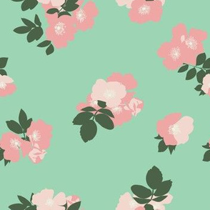 Wild Roses in Mint // Vintage-inspired modern floral print for wallpaper or fabric - original repeat pattern by Zoe Charlotte