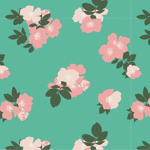 Wild Roses in Dark Mint // Vintage-inspired modern floral print for wallpaper or fabric - original repeat pattern by Zoe Charlotte