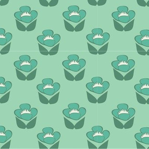 Retro Roses in Green // Vintage-inspired modern floral print for wallpaper or fabric - original repeat pattern by Zoe Charlotte