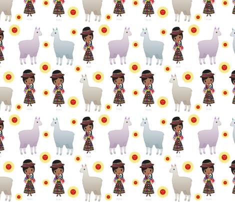 Fiorellas Llamas fabric by floramoon on Spoonflower - custom fabric