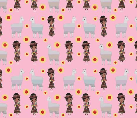 Fiorellas Llamas-pink fabric by floramoon on Spoonflower - custom fabric