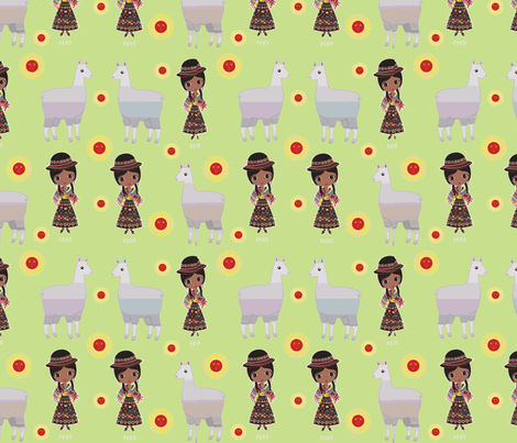 Fiorellas Llamas-green fabric by floramoon on Spoonflower - custom fabric