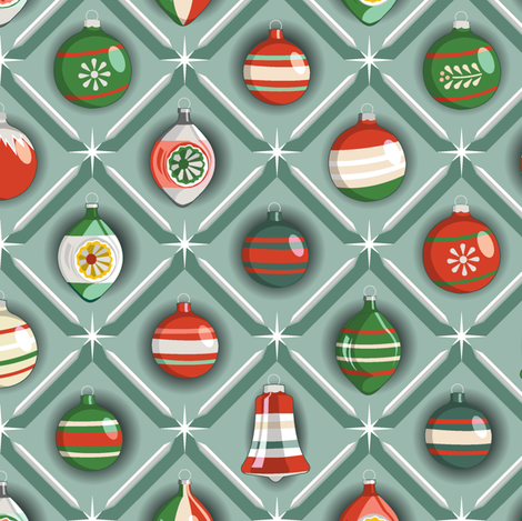 Shiny & Bright* (Green & Red on Camouflage)     vintage glass Christmas tree holiday ornaments star diamond geometric starburst shine sparkle mercury fabric by pennycandy on Spoonflower - custom fabric