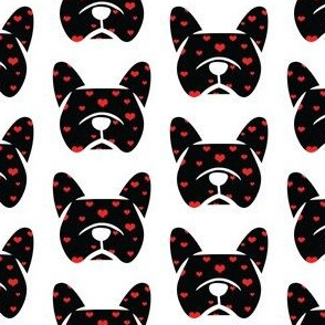French Bulldog with hearts