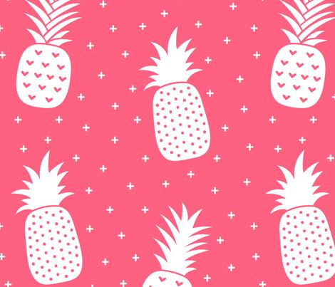 pineapples + pink :: fruity fun huge fabric by misstiina on Spoonflower - custom fabric