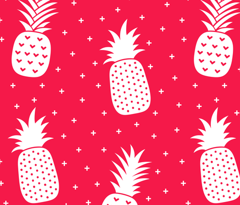 pineapples + red :: fruity fun huge fabric by misstiina on Spoonflower - custom fabric