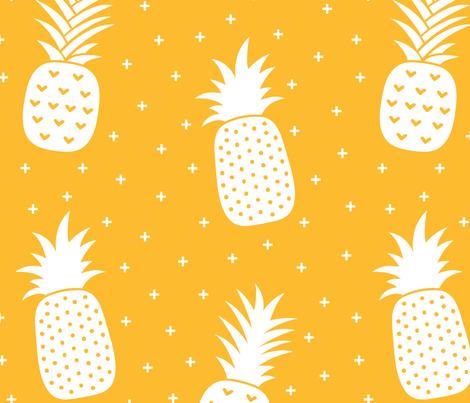 pineapples + orange :: fruity fun huge fabric by misstiina on Spoonflower - custom fabric