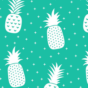 pineapples + teal :: fruity fun huge