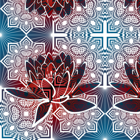 Square Diamond Lotus Red White Blue fabric by deanna_konz on Spoonflower - custom fabric