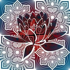 Square Diamond Lotus Red White Blue