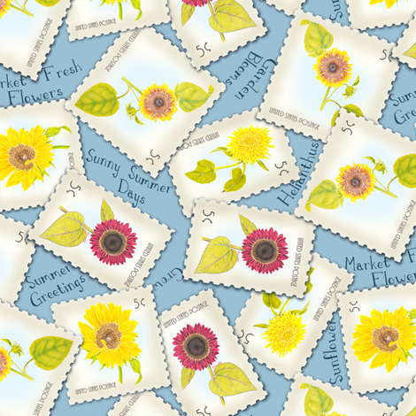 SunflowerStamp fabric by blairfully_made on Spoonflower - custom fabric
