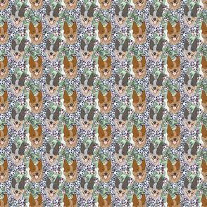 Floral Australian cattle dog portraits - small