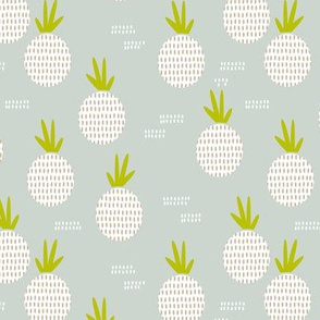 Retro round pineapple fruit kitchen pastel Scandinavian style summer design gender neutral gray MEDIUM
