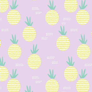 Retro round pineapple fruit kitchen pastel Scandinavian style summer design lilac yellow MEDIUM
