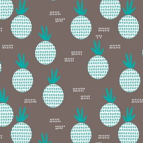 Retro round pineapple fruit kitchen pastel Scandinavian style summer design winter blue MEDIUM