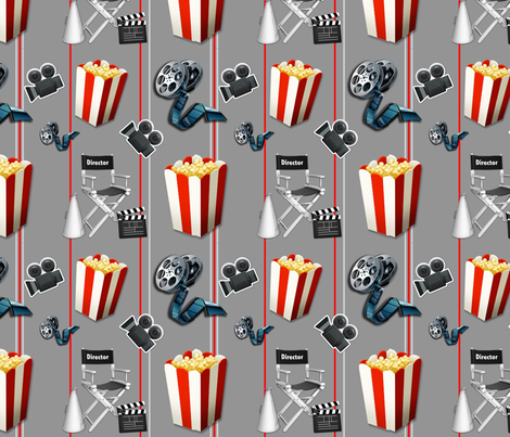 Lets go to the movies ! fabric by floramoon_designs on Spoonflower - custom fabric