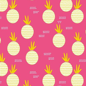 Colorful retro round pineapple fruit kitchen pastel memphis style summer design pink yellow MEDIUM