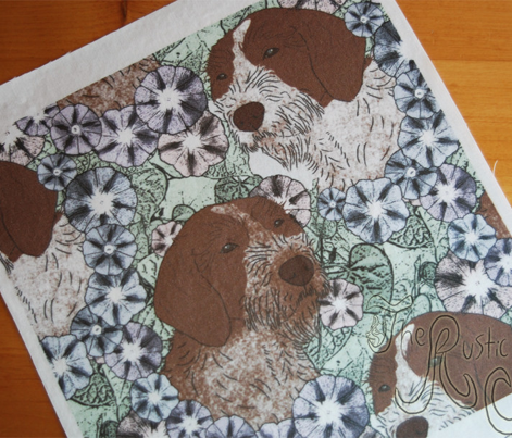 Floral German wirehaired Pointer portraits