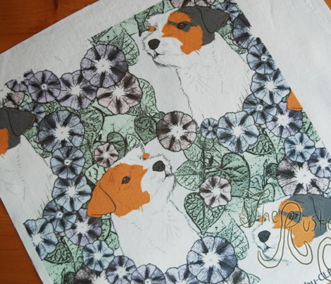 Floral Jack Russell terrier portraits