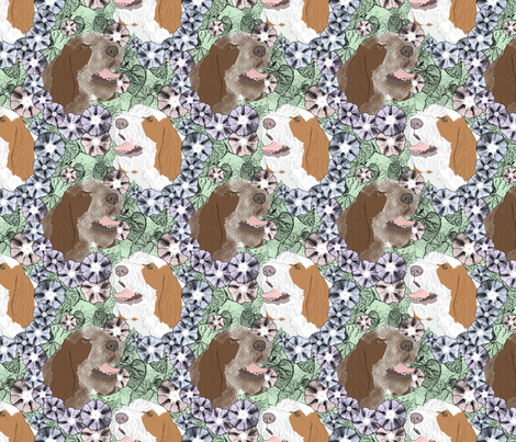 Floral Spinone Italiano portraits fabric by rusticcorgi on Spoonflower - custom fabric