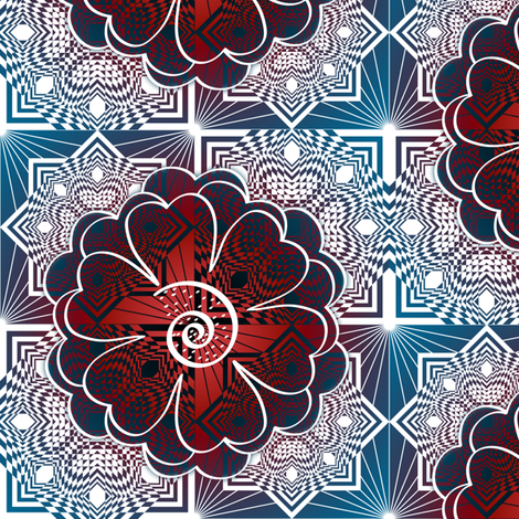 Square Diamond Flower Red White Blue fabric by deanna_konz on Spoonflower - custom fabric