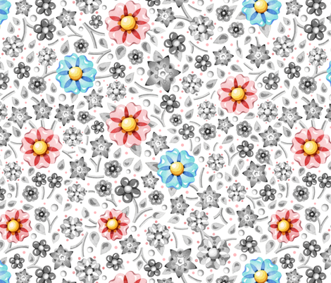 Pink Blue Grey Millefiori fabric by patriciasheadesigns on Spoonflower - custom fabric