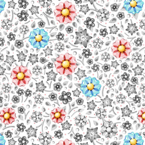 Pink Blue Grey Millefiori