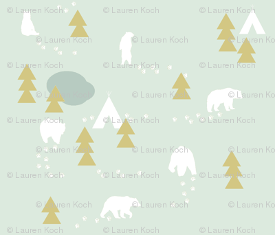 Bear Trail // mint and gold