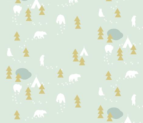 Bear Trail // mint and gold fabric by buckwoodsdesignco on Spoonflower - custom fabric