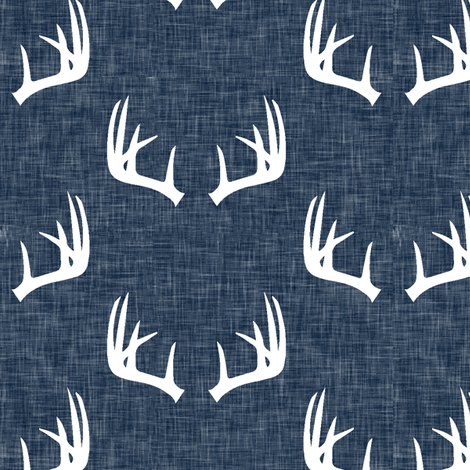antlers on navy linen  fabric by littlearrowdesign on Spoonflower - custom fabric