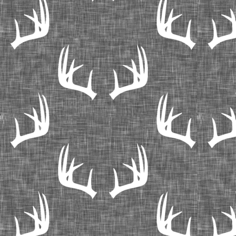 antlers on grey linen fabric by littlearrowdesign on Spoonflower - custom fabric