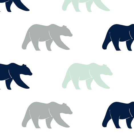 multi bear || the northern lights collection fabric by littlearrowdesign on Spoonflower - custom fabric