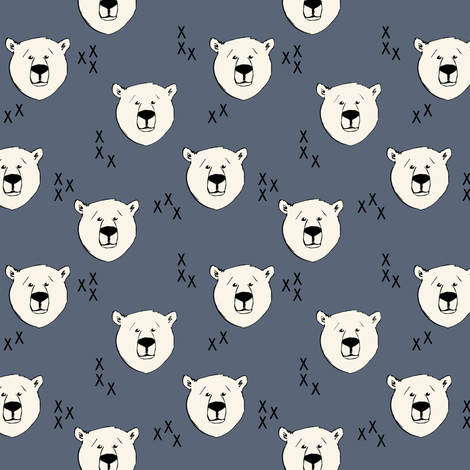 Polar bear (small scale) || dark blue fabric by littlearrowdesign on Spoonflower - custom fabric
