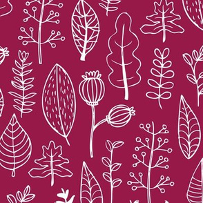 Soft fall winter garden leaf and flowers scandinavian style illustration print maroon cherry