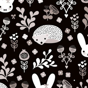 Adorable fall blossom flower garden easter bunny and hedgehog illustration print for little girls