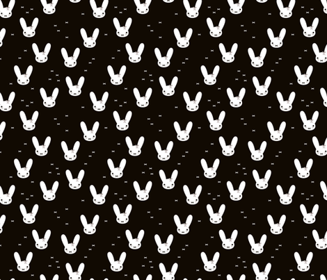 Super cute baby bunny sweet bow rabbit illustration print for kids black and white fabric by