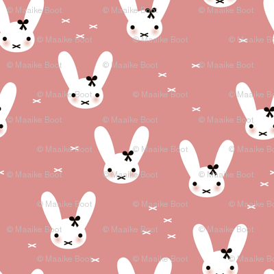 Super cute baby bunny sweet bow rabbit illustration print for kids pink fall