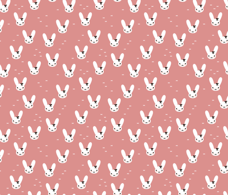 Super cute baby bunny sweet bow rabbit illustration print for kids pink fall fabric by littlesmilemakers on Spoonflower - custom fabric