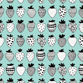 Farmers market summer strawberry fruit hearts print soft mint blue