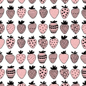 Farmers market summer strawberry fruit hearts print soft pastel pink