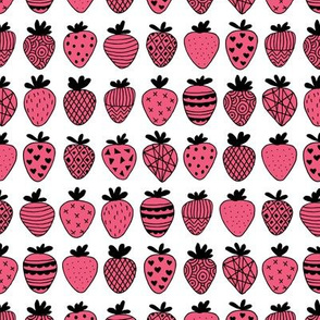 Farmers market summer strawberry fruit hearts print hot pink