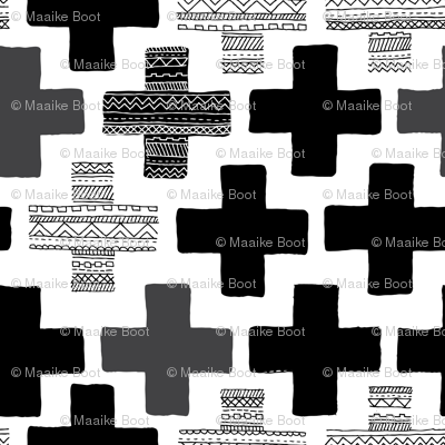 Plus plus cross geometric modern patterns black and white
