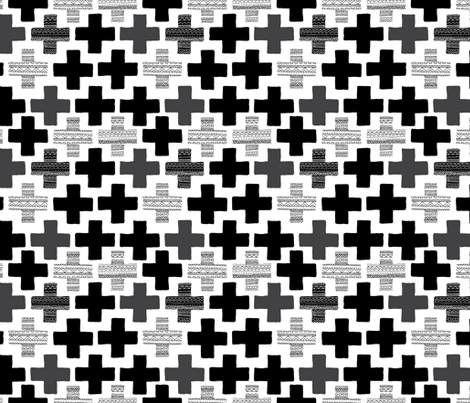 Plus plus cross geometric modern patterns black and white fabric by littlesmilemakers on Spoonflower - custom fabric
