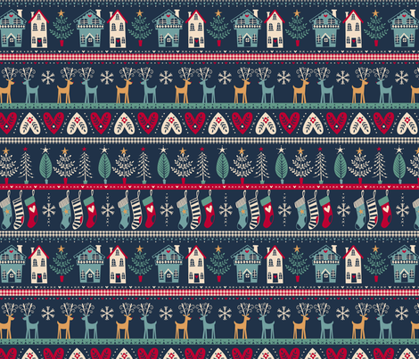 vintage nordic christmas fabric by laura_may_designs on Spoonflower - custom fabric